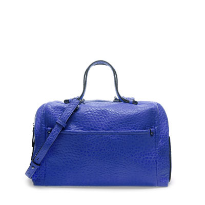 Bowling Bag - predominant colour: royal blue; occasions: casual, work; style: bowling; length: handle; size: standard; material: faux leather; pattern: plain; finish: plain; season: s/s 2013