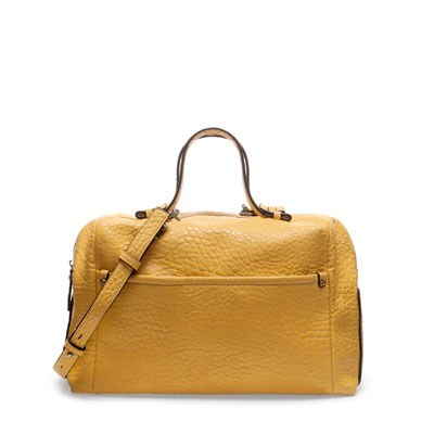 Bowling Bag - predominant colour: mustard; occasions: casual, work; type of pattern: standard; style: bowling; length: handle; size: standard; material: faux leather; pattern: plain; finish: plain; season: s/s 2013