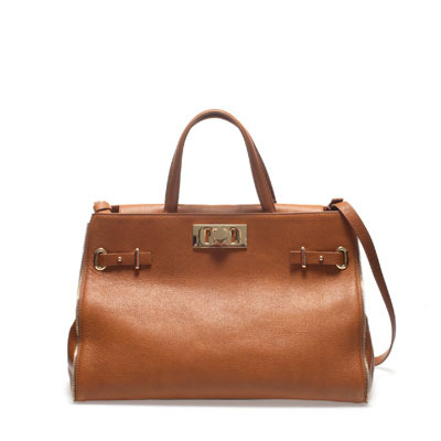 Office City Bag - predominant colour: tan; occasions: casual, work; style: tote; length: handle; size: standard; material: leather; pattern: plain; finish: plain; embellishment: buckles, chain/metal; season: s/s 2013