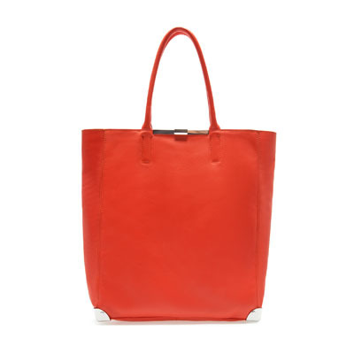 Leather Shopper - predominant colour: coral; occasions: casual, work; style: tote; length: handle; size: standard; material: leather; pattern: plain; finish: plain; season: s/s 2013