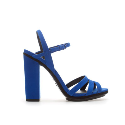 Strappy Platform Sandals - predominant colour: royal blue; occasions: evening, occasion; material: faux leather; heel height: high; embellishment: buckles; ankle detail: ankle strap; heel: block; toe: open toe/peeptoe; style: strappy; finish: plain; pattern: plain; season: s/s 2013