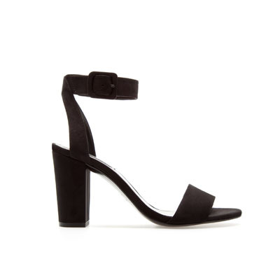 Medium Height Sandal - predominant colour: black; occasions: evening, occasion; material: fabric; heel height: high; embellishment: buckles; ankle detail: ankle strap; heel: block; toe: open toe/peeptoe; style: standard; finish: plain; pattern: plain; season: s/s 2013