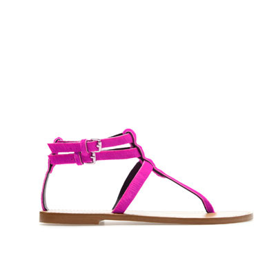 Leather Thong Sandals - predominant colour: hot pink; occasions: casual, holiday; material: suede; heel height: flat; embellishment: buckles; ankle detail: ankle strap; heel: standard; toe: toe thongs; style: standard; finish: plain; pattern: plain; season: s/s 2013; wardrobe: highlight
