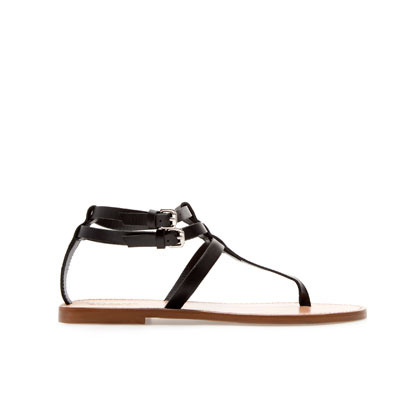 Flat Thong Sandals With Buckle - predominant colour: black; occasions: casual, holiday; material: leather; heel height: flat; embellishment: buckles; ankle detail: ankle strap; heel: standard; toe: toe thongs; style: standard; finish: plain; pattern: plain; season: s/s 2013; wardrobe: highlight
