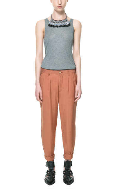 Flowing Jacquard Chinos - pattern: plain; pocket detail: small back pockets, pockets at the sides; waist detail: belted waist/tie at waist/drawstring; waist: mid/regular rise; predominant colour: terracotta; occasions: casual, work; length: ankle length; style: chino; fibres: polyester/polyamide - 100%; jeans & bottoms detail: turn ups; texture group: silky - light; fit: baggy; pattern type: fabric; season: s/s 2013; pattern size: standard (bottom)