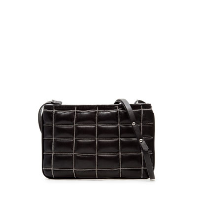 Quilted Messenger Bag With Chains - predominant colour: black; occasions: casual, creative work; type of pattern: standard; style: shoulder; length: across body/long; size: small; material: faux leather; pattern: plain; finish: plain; season: s/s 2013