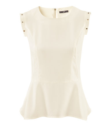 Blouse - neckline: round neck; pattern: plain; sleeve style: sleeveless; waist detail: fitted waist, peplum waist detail; style: blouse; predominant colour: ivory/cream; occasions: casual, evening, work, occasion; length: standard; fibres: polyester/polyamide - 100%; fit: body skimming; shoulder detail: added shoulder detail; sleeve length: sleeveless; texture group: crepes; pattern type: fabric; pattern size: standard; season: s/s 2013