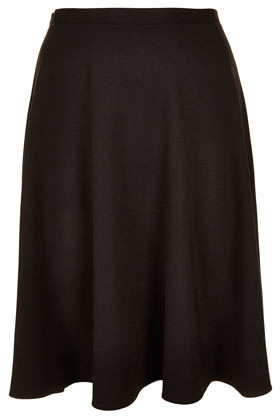 Black Milano Calf Skater Skirt - pattern: plain; fit: loose/voluminous; waist detail: fitted waist, feature waist detail; hip detail: draws attention to hips, subtle/flattering hip detail; waist: mid/regular rise; predominant colour: black; occasions: casual, evening, work; length: just above the knee; style: a-line; fibres: polyester/polyamide - stretch; trends: volume; pattern type: fabric; texture group: jersey - stretchy/drapey; season: s/s 2013; pattern size: standard (bottom)