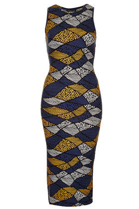 Aztec Print Sleeveless Midi Dress - style: shift; length: below the knee; neckline: round neck; fit: fitted at waist; sleeve style: sleeveless; waist detail: fitted waist; back detail: racer back/sports back; hip detail: fitted at hip; predominant colour: navy; secondary colour: mustard; occasions: evening; fibres: polyester/polyamide - stretch; sleeve length: sleeveless; pattern type: fabric; pattern size: big & busy; pattern: patterned/print; texture group: jersey - stretchy/drapey; season: s/s 2013