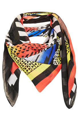 Geo Aztec Square Scarf - occasions: casual, work; predominant colour: multicoloured; type of pattern: heavy; style: square; size: standard; material: fabric; trends: statement prints, modern geometrics; pattern: patterned/print; season: s/s 2013; multicoloured: multicoloured