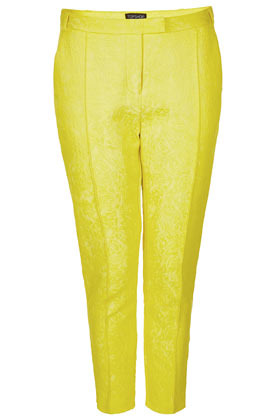 Jacquard Cigarette Trousers - pattern: plain; waist detail: fitted waist, narrow waistband; pocket detail: small back pockets, pockets at the sides; waist: mid/regular rise; predominant colour: yellow; occasions: casual, evening, work, occasion, holiday; length: ankle length; fibres: cotton - mix; hip detail: fitted at hip (bottoms); texture group: ornate wovens; trends: fluorescent; fit: slim leg; pattern type: fabric; style: standard; season: s/s 2013; pattern size: standard (bottom)