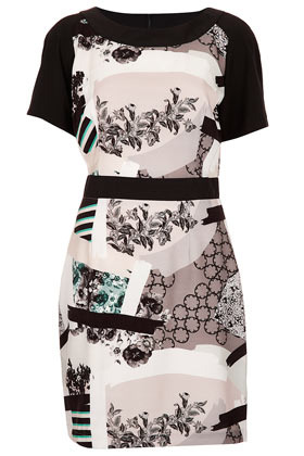 Patchwork Print Shift Dress - style: shift; length: mid thigh; neckline: round neck; fit: fitted at waist; predominant colour: black; occasions: casual, evening, creative work; fibres: polyester/polyamide - 100%; sleeve length: short sleeve; sleeve style: standard; texture group: silky - light; pattern type: fabric; pattern size: big & busy; pattern: patterned/print; season: s/s 2013