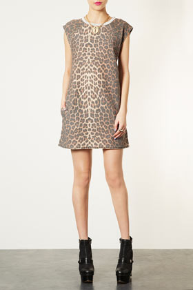 Leopard Sleeveless Sweat Dress - style: t-shirt; length: mid thigh; neckline: round neck; sleeve style: capped; predominant colour: taupe; occasions: casual, evening; fit: straight cut; fibres: cotton - mix; sleeve length: sleeveless; pattern type: fabric; pattern size: standard; pattern: animal print; texture group: jersey - stretchy/drapey; season: s/s 2013