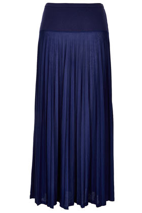 High Waist Pleated Maxi Skirt - pattern: plain, colourblock; fit: body skimming; waist detail: fitted waist, wide waistband/cummerbund; waist: high rise; hip detail: fitted at hip, contrast fabric/print detail at hip, structured pleats at hip, soft pleats at hip/draping at hip/flared at hip; predominant colour: navy; occasions: casual, evening, occasion, holiday; length: floor length; style: maxi skirt; fibres: polyester/polyamide - 100%; texture group: sheer fabrics/chiffon/organza etc.; trends: volume; pattern type: fabric; season: s/s 2013; pattern size: standard (bottom)