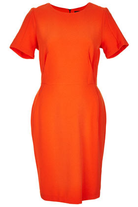 Crepe Seam Shift Dress - style: shift; neckline: round neck; fit: tailored/fitted; pattern: plain; waist detail: fitted waist; predominant colour: bright orange; occasions: casual, evening, occasion; length: just above the knee; fibres: polyester/polyamide - stretch; hip detail: sculpting darts/pleats/seams at hip; sleeve length: short sleeve; sleeve style: standard; texture group: crepes; pattern type: fabric; season: s/s 2013