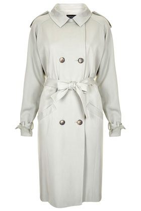 Soft Drape Trench Coat - pattern: plain; style: trench coat; length: on the knee; predominant colour: stone; occasions: casual, evening, work; fit: straight cut (boxy); fibres: polyester/polyamide - 100%; collar: shirt collar/peter pan/zip with opening; sleeve length: long sleeve; sleeve style: standard; texture group: cotton feel fabrics; collar break: high/illusion of break when open; pattern type: fabric; pattern size: standard; season: s/s 2013; hip detail: side pockets at hip