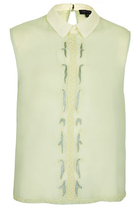 Sleeveless Embellished Top - sleeve style: sleeveless; bust detail: added detail/embellishment at bust; predominant colour: khaki; occasions: casual, evening, work, occasion, holiday; length: standard; style: top; fibres: polyester/polyamide - 100%; fit: straight cut; neckline: no opening/shirt collar/peter pan; back detail: keyhole/peephole detail at back; sleeve length: sleeveless; texture group: sheer fabrics/chiffon/organza etc.; pattern type: fabric; pattern size: light/subtle; embellishment: beading; season: s/s 2013