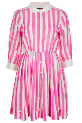 Pink Stripe Shirtdress - style: shirt; length: mid thigh; neckline: shirt collar/peter pan/zip with opening; fit: fitted at waist; pattern: vertical stripes; bust detail: buttons at bust (in middle at breastbone)/zip detail at bust; secondary colour: white; predominant colour: pink; occasions: casual; fibres: cotton - 100%; hip detail: adds bulk at the hips; sleeve length: 3/4 length; sleeve style: standard; texture group: cotton feel fabrics; pattern type: fabric; pattern size: standard; season: s/s 2013