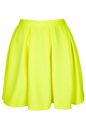 Fluro Yellow Pleated Skirt - length: mini; pattern: plain; fit: loose/voluminous; style: pleated; waist detail: fitted waist, feature waist detail; waist: mid/regular rise; predominant colour: yellow; occasions: casual, evening, work, holiday; fibres: polyester/polyamide - stretch; hip detail: adds bulk at the hips, subtle/flattering hip detail, sculpting darts/pleats/seams at hip; trends: fluorescent, volume; pattern type: fabric; texture group: jersey - stretchy/drapey; season: s/s 2013; pattern size: standard (bottom)