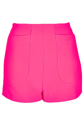 High Waist Jersey Shorts - pattern: plain; hip detail: front pockets at hip; waist: high rise; predominant colour: hot pink; occasions: casual, evening, holiday; fibres: polyester/polyamide - mix; pattern type: fabric; texture group: jersey - stretchy/drapey; season: s/s 2013; pattern size: standard (bottom); style: shorts; length: short shorts; fit: slim leg