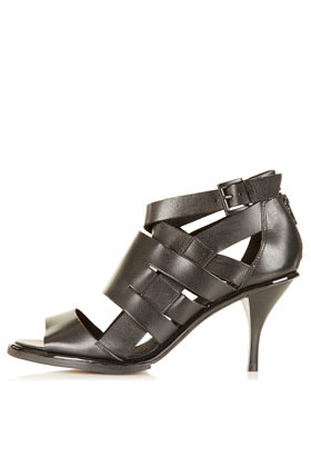 Nia Multi Strap Sandals - predominant colour: black; material: leather; heel height: mid; embellishment: buckles; ankle detail: ankle strap; heel: stiletto; toe: open toe/peeptoe; style: strappy; finish: plain; pattern: plain; occasions: creative work; season: s/s 2013