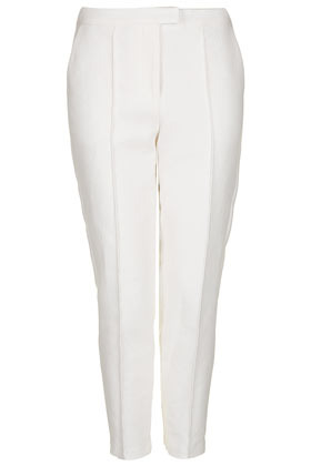 Textured Cigarette Trousers - pattern: plain; waist detail: fitted waist, narrow waistband; pocket detail: small back pockets, pockets at the sides; waist: mid/regular rise; predominant colour: white; occasions: casual, evening, work, occasion, holiday; length: ankle length; fibres: cotton - mix; hip detail: fitted at hip (bottoms); fit: slim leg; pattern type: fabric; texture group: woven bulky/heavy; style: standard; season: s/s 2013; pattern size: light/subtle (bottom)