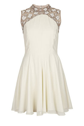 Petite Pearl Embellished Dress - length: mid thigh; sleeve style: sleeveless; neckline: high neck; bust detail: subtle bust detail; predominant colour: ivory/cream; occasions: evening, occasion; fit: fitted at waist & bust; style: fit & flare; fibres: polyester/polyamide - 100%; sleeve length: sleeveless; texture group: sheer fabrics/chiffon/organza etc.; pattern type: fabric; pattern size: light/subtle; pattern: florals; embellishment: beading; season: s/s 2013; wardrobe: event; embellishment location: shoulder