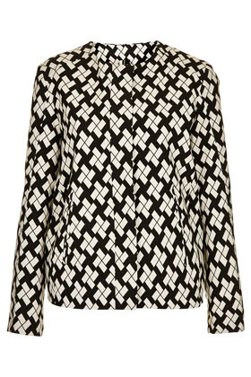 Printed Oversized Bomber Jacket - collar: round collar/collarless; style: bomber; predominant colour: black; occasions: casual, evening, work, occasion; length: standard; fit: straight cut (boxy); fibres: polyester/polyamide - mix; pattern: dogtooth, patterned/print; sleeve length: long sleeve; sleeve style: standard; trends: modern geometrics; collar break: high; pattern type: fabric; pattern size: standard; texture group: other - light to midweight; season: s/s 2013
