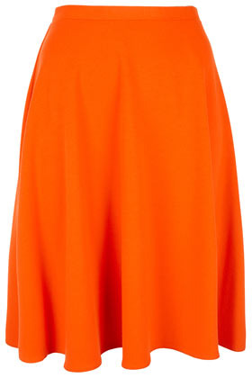 Orange Calf Skater Skirt - pattern: plain; fit: body skimming; waist detail: fitted waist, narrow waistband; hip detail: fitted at hip, soft pleats at hip/draping at hip/flared at hip, sculpting darts/pleats/seams at hip; waist: mid/regular rise; predominant colour: bright orange; occasions: casual, evening, work, holiday; length: just above the knee; style: a-line; fibres: polyester/polyamide - stretch; trends: fluorescent; pattern type: fabric; texture group: jersey - stretchy/drapey; season: s/s 2013; pattern size: standard (bottom)