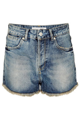 Tall High Rise Denim Hotpants - pattern: plain; waist detail: fitted waist; hip detail: front pockets at hip; waist: high rise; pocket detail: traditional 5 pocket; predominant colour: denim; occasions: casual, holiday; fibres: cotton - 100%; texture group: denim; pattern type: fabric; season: s/s 2013; pattern size: standard (bottom); style: denim; length: short shorts; fit: slim leg