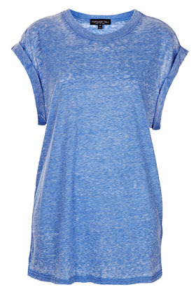 Tall Over Sized Burn Out Tee - neckline: round neck; length: below the bottom; style: t-shirt; predominant colour: diva blue; occasions: casual; fibres: polyester/polyamide - mix; fit: loose; sleeve length: short sleeve; sleeve style: standard; pattern type: fabric; pattern size: standard; texture group: jersey - stretchy/drapey; season: s/s 2013