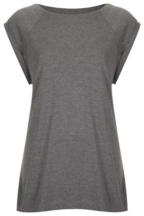 Tall High Neck Neppy Tank - neckline: round neck; sleeve style: raglan; pattern: plain; length: below the bottom; predominant colour: charcoal; occasions: casual; style: top; fibres: acrylic - mix; fit: loose; sleeve length: short sleeve; pattern type: fabric; pattern size: standard; texture group: jersey - stretchy/drapey; season: s/s 2013