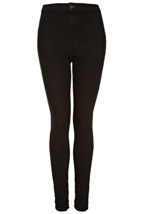 Tall Moto Joni Jeans - style: skinny leg; length: standard; pattern: plain; pocket detail: large back pockets, traditional 5 pocket; waist: high rise; predominant colour: black; occasions: casual, evening, work; fibres: cotton - mix; jeans detail: dark wash; texture group: denim; pattern type: fabric; season: s/s 2013; pattern size: standard (bottom)