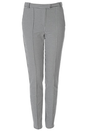 Tall Puppytooth Trousers - waist detail: fitted waist, feature waist detail; pocket detail: small back pockets; style: peg leg; pattern: herringbone/tweed, dogtooth; waist: mid/regular rise; predominant colour: black; occasions: casual, work; length: ankle length; fibres: cotton - mix; hip detail: fitted at hip (bottoms); trends: statement prints; fit: slim leg; pattern type: fabric; texture group: woven light midweight; season: s/s 2013; pattern size: standard (bottom)