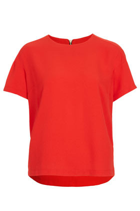 Tall Crepe Raglan Tee - neckline: round neck; sleeve style: capped; pattern: plain; style: t-shirt; predominant colour: true red; occasions: casual, evening, work; length: standard; fibres: polyester/polyamide - stretch; fit: straight cut; back detail: longer hem at back than at front; sleeve length: short sleeve; texture group: crepes; pattern type: fabric; pattern size: standard; season: s/s 2013