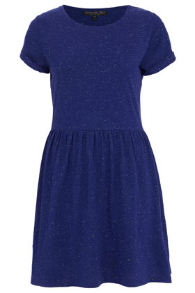 Tall Speckle Roll Sleeve Dress - style: shift; length: mid thigh; neckline: round neck; fit: fitted at waist; pattern: plain; predominant colour: navy; occasions: casual, creative work; fibres: polyester/polyamide - mix; hip detail: subtle/flattering hip detail; sleeve length: short sleeve; sleeve style: standard; pattern type: fabric; texture group: jersey - stretchy/drapey; season: s/s 2013