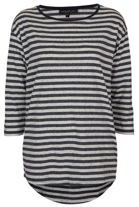 Tall Neppy Stripe Top - neckline: round neck; pattern: horizontal stripes, striped; length: below the bottom; style: t-shirt; predominant colour: navy; occasions: casual; fibres: cotton - mix; fit: straight cut; back detail: longer hem at back than at front; sleeve length: 3/4 length; sleeve style: standard; pattern type: fabric; pattern size: standard; texture group: jersey - stretchy/drapey; season: s/s 2013