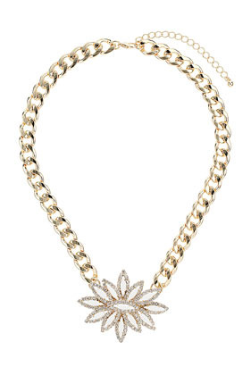 Premium Rhinestone Flower Collar - predominant colour: gold; occasions: evening, occasion, holiday; style: pendant; length: short; size: standard; material: chain/metal; finish: metallic; season: s/s 2013