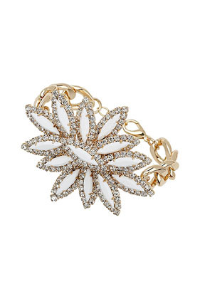 Premium Rhinestone Flower Bracelet - predominant colour: gold; occasions: evening, occasion, holiday; style: bangle/standard; size: standard; material: chain/metal; trends: metallics; finish: metallic; embellishment: beading; season: s/s 2013