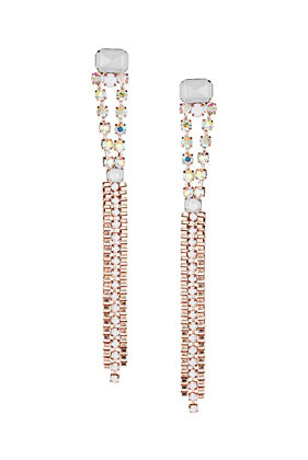 Premium Thread Wrapped Stone Earrings - predominant colour: silver; occasions: evening, occasion; style: drop; length: long; size: large/oversized; material: chain/metal; fastening: pierced; trends: metallics; finish: metallic; embellishment: chain/metal; season: s/s 2013