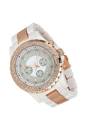 Plastic Metal Watch - predominant colour: white; occasions: casual, evening, work, occasion, holiday; style: metal bracelet; size: large/oversized; material: plastic/rubber; embellishment: crystals/glass; finish: metallic; pattern: colourblock; season: s/s 2013