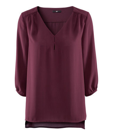 Blouse - neckline: v-neck; pattern: plain; sleeve style: balloon; style: blouse; predominant colour: aubergine; occasions: casual, evening, work; length: standard; fibres: polyester/polyamide - 100%; fit: straight cut; shoulder detail: structured/bulky pleats/bulky detail at shoulder; back detail: longer hem at back than at front; sleeve length: 3/4 length; texture group: sheer fabrics/chiffon/organza etc.; pattern type: fabric; pattern size: standard; season: s/s 2013