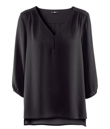 Blouse - neckline: v-neck; pattern: plain; sleeve style: balloon; style: blouse; predominant colour: black; occasions: casual, evening, work; length: standard; fibres: polyester/polyamide - 100%; fit: loose; shoulder detail: subtle shoulder detail; back detail: longer hem at back than at front; sleeve length: 3/4 length; texture group: sheer fabrics/chiffon/organza etc.; pattern type: fabric; season: s/s 2013; wardrobe: highlight