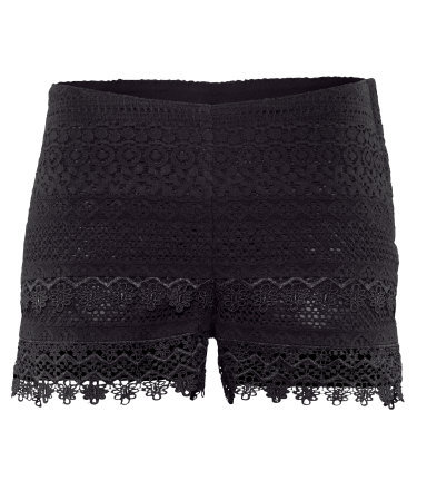 Shorts - waist detail: fitted waist; waist: mid/regular rise; predominant colour: black; occasions: casual, evening, holiday; fibres: cotton - mix; hip detail: fitted at hip (bottoms); texture group: lace; pattern type: fabric; pattern: patterned/print; season: s/s 2013; pattern size: standard (bottom); style: shorts; length: short shorts; fit: slim leg