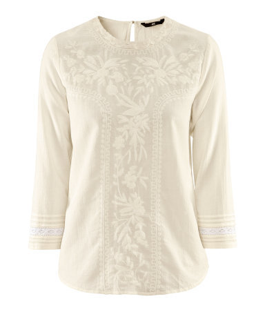 Blouse - neckline: round neck; bust detail: added detail/embellishment at bust; style: blouse; predominant colour: ivory/cream; occasions: casual, evening, work, holiday; length: standard; fibres: cotton - 100%; fit: straight cut; back detail: keyhole/peephole detail at back; sleeve length: 3/4 length; sleeve style: standard; texture group: cotton feel fabrics; pattern type: fabric; pattern size: light/subtle; embellishment: embroidered; season: s/s 2013