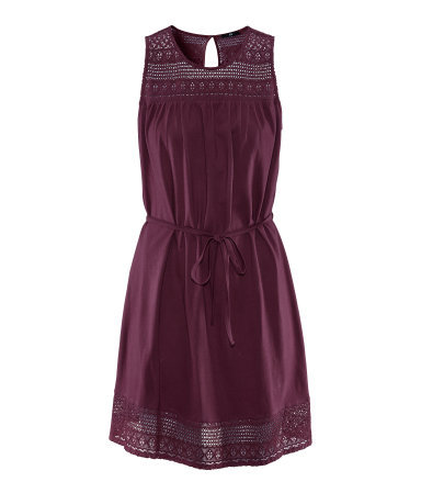 Dress - style: shift; neckline: round neck; fit: fitted at waist; sleeve style: sleeveless; shoulder detail: contrast pattern/fabric at shoulder; waist detail: belted waist/tie at waist/drawstring; predominant colour: aubergine; occasions: casual, evening; length: just above the knee; fibres: cotton - 100%; bust detail: contrast pattern/fabric/detail at bust; back detail: keyhole/peephole detail at back; sleeve length: sleeveless; texture group: lace; pattern type: fabric; pattern size: light/subtle; pattern: patterned/print; season: s/s 2013