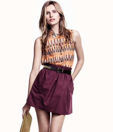Skirt - length: mid thigh; pattern: plain; fit: loose/voluminous; waist: high rise; waist detail: belted waist/tie at waist/drawstring; predominant colour: aubergine; occasions: casual, evening, holiday; style: a-line; fibres: cotton - 100%; hip detail: subtle/flattering hip detail; texture group: cotton feel fabrics; pattern type: fabric; season: s/s 2013; wardrobe: highlight