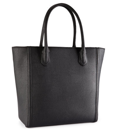 Bag - predominant colour: black; occasions: casual, creative work; type of pattern: standard; style: tote; length: handle; size: standard; material: faux leather; pattern: plain; finish: plain; season: s/s 2013