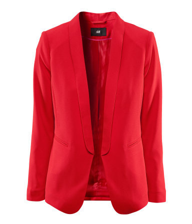 Jacket - pattern: plain; style: single breasted blazer; collar: standard lapel/rever collar; predominant colour: true red; occasions: casual, evening, work, occasion; length: standard; fit: tailored/fitted; fibres: polyester/polyamide - stretch; sleeve length: long sleeve; sleeve style: standard; texture group: crepes; trends: tuxedo; collar break: low/open; pattern type: fabric; season: s/s 2013