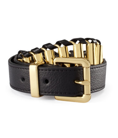Belt - predominant colour: black; occasions: casual, evening, work; type of pattern: light; style: chainlink; size: standard; worn on: hips; material: faux leather; pattern: plain; finish: metallic; embellishment: chain/metal; season: s/s 2013